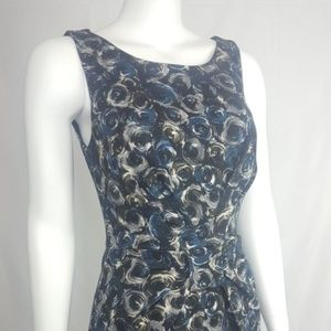 Bailey 44 Sheath Dress Black Blue Gray Print Swirl